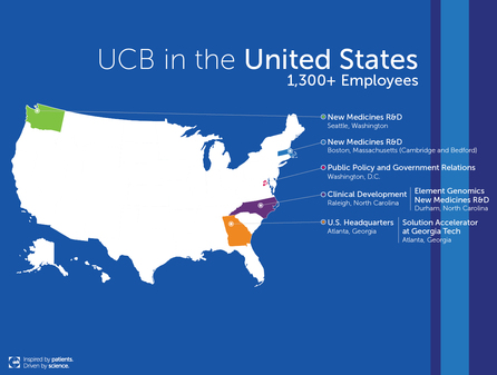 United States map with blue background showing the five UCB U.S locations