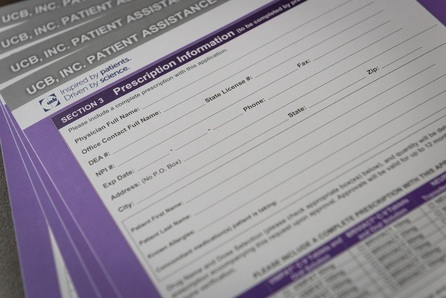 UCB Patient Assistance form with purple heading