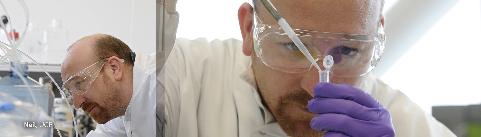 Scientist working in lab with protective glasses