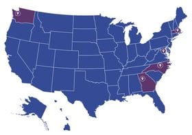 Blue United States Map with UCB locations in purple