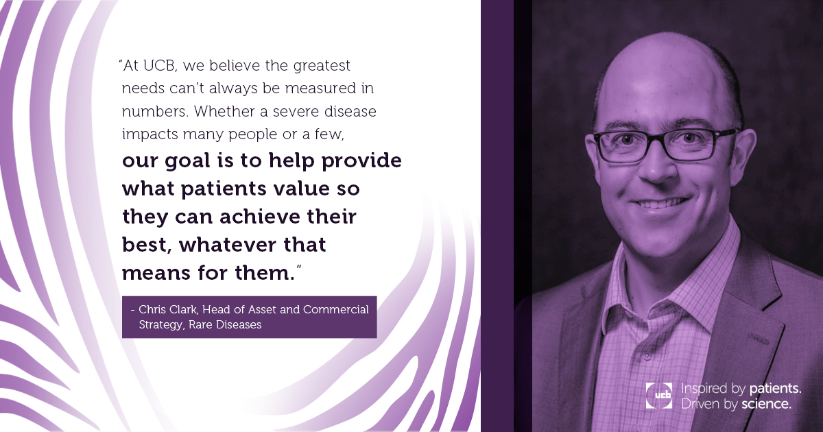 Purple UCB quote card features Head of Asset and Commercial Strategy for UCB Rare Disease