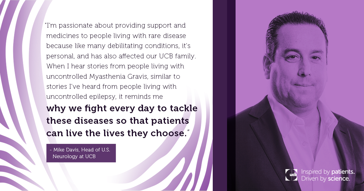 Purple UCB quote card features Head of U.S. Neurology