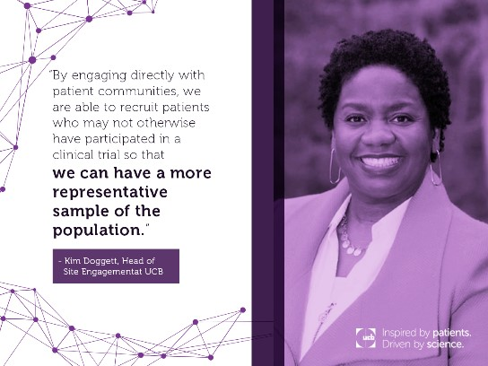 Purple quote card features UCB Head of Site Engagement