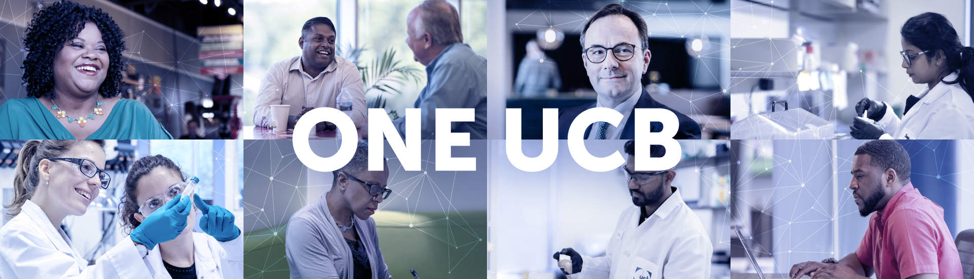 Collage of UCB researchers, patients, and employees with ONE UCB